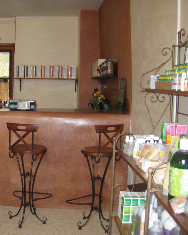 Comptoir en tadelakt boutique bio Lot Aveyron